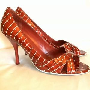 Enzo Angiolini Eamagnify red leather peeptoe heels